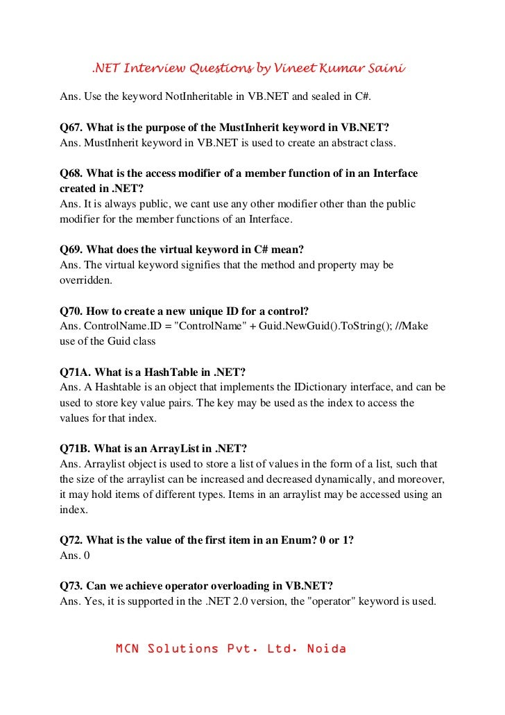 Net Interview Questions And Answers For Experienced Pdf