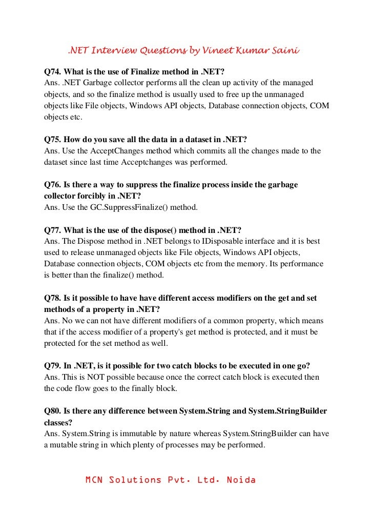 .net Interview Questions Pdf