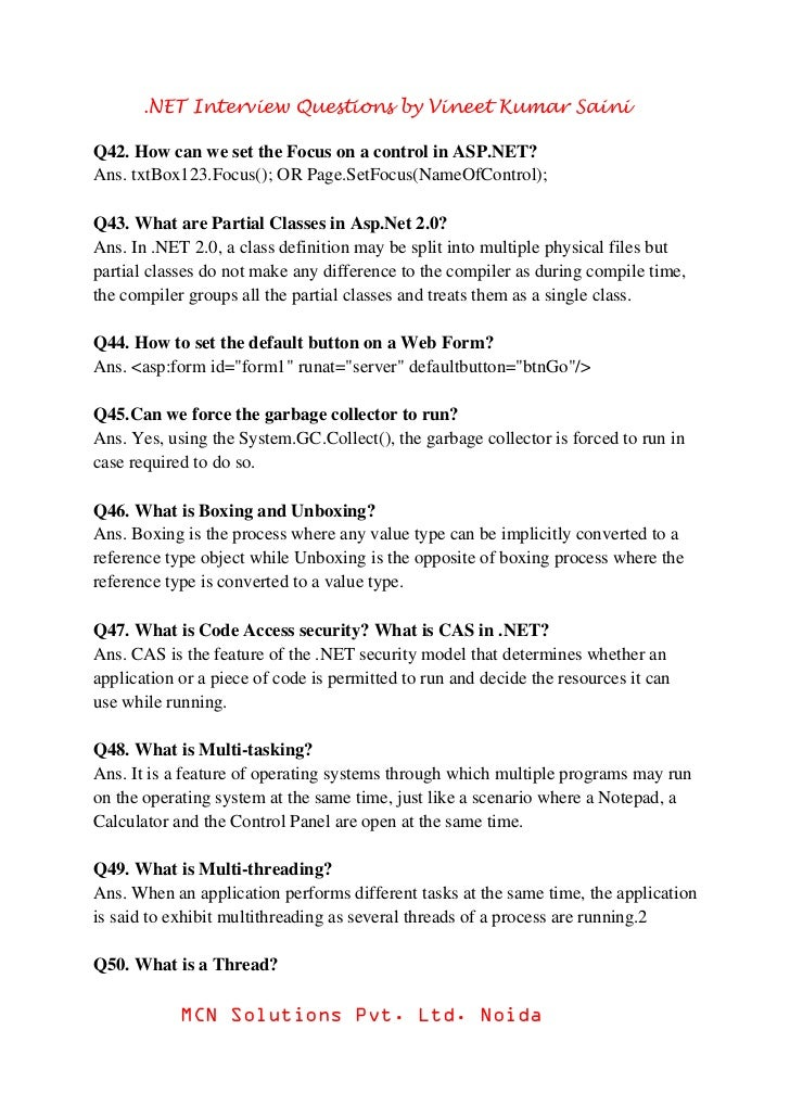 Asp Dot Net Interview Questions Pdf