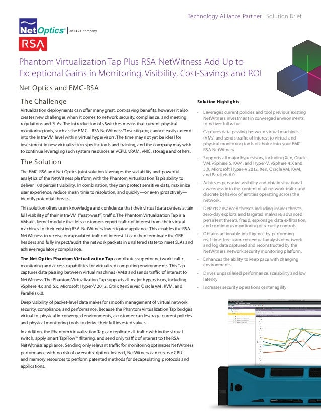 Technology Alliance Partner I Solution Brief  Phantom Virtualization Tap Plus RSA NetWitness Add Up to Exceptional Gains i...