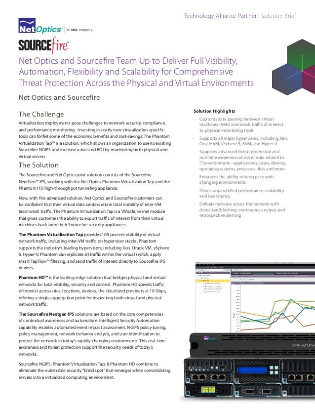 Technology Alliance Partner I Solution Brief  Net Optics and Sourcefire Team Up to Deliver Full Visibility, Automation, Fl...