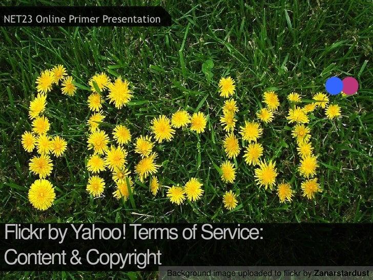 NET23 Online Primer Presentation<br />Flickr by Yahoo! Terms of Service:<br />Content & Copyright <br />Background image u...