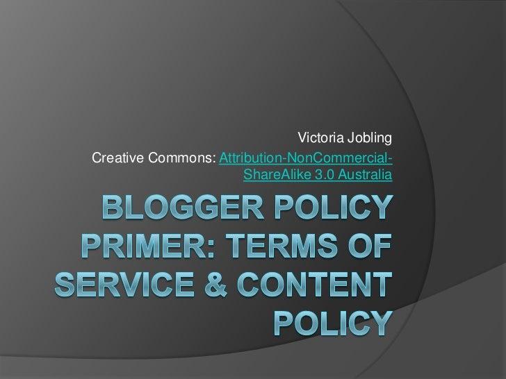 Victoria JoblingCreative Commons: Attribution-NonCommercial-                       ShareAlike 3.0 Australia