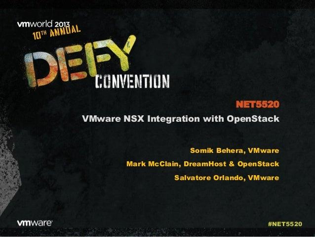 VMware NSX Integration with OpenStack Somik Behera, VMware Mark McClain, DreamHost & OpenStack Salvatore Orlando, VMware N...