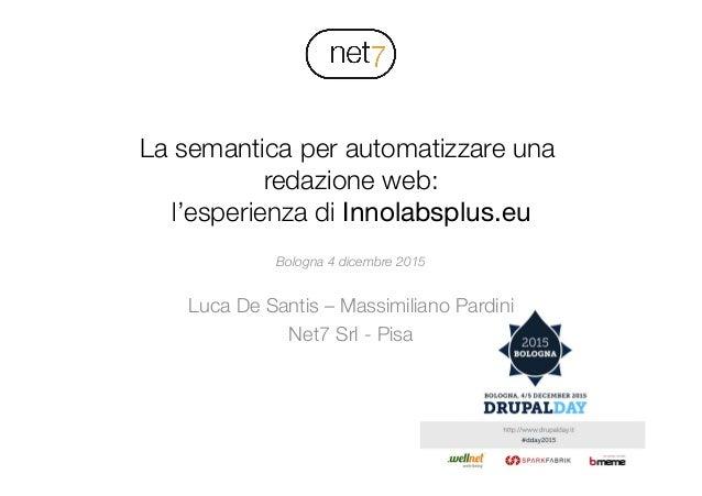 ! La semantica per automatizzare una redazione web:! l'esperienza di Innolabsplus.eu Bologna 4 dicembre 2015  Luca De Sant...