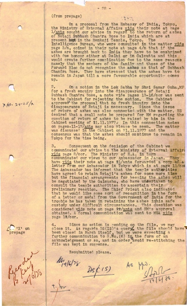 Revealed Netaji Files On Proposals To Bring Back Ashes Of
