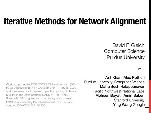 Iterative Methods for Network Alignment                                                                       David F. Gle...