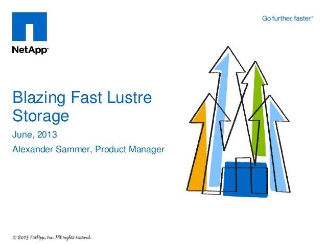 June, 2013Alexander Sammer, Product ManagerBlazing Fast LustreStorage