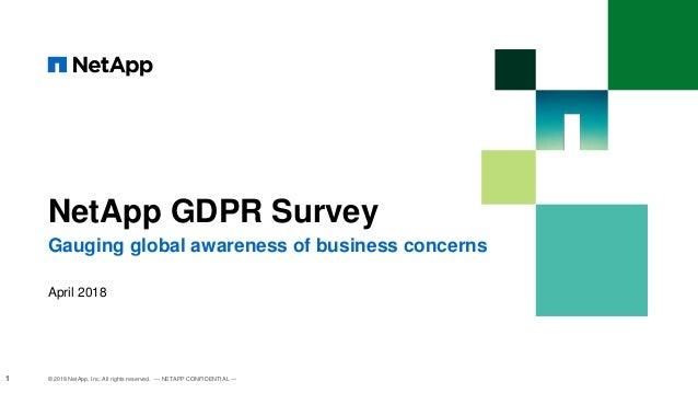 NetApp GDPR Survey Gauging global awareness of business concerns © 2018 NetApp, Inc. All rights reserved. — NETAPP CONFIDE...