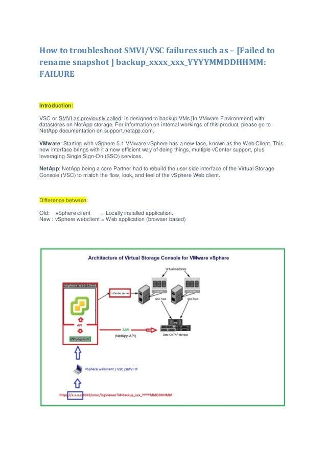 How to troubleshoot SMVI/VSC failures such as – [Failed to rename snapshot ] backup_xxxx_xxx_YYYYMMDDHHMM: FAILURE Introdu...