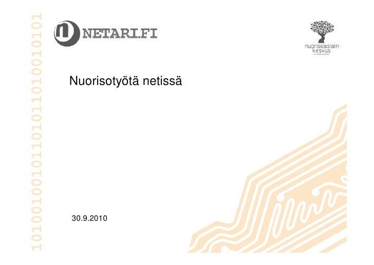 Nuorisotyötä netissä     30.9.2010