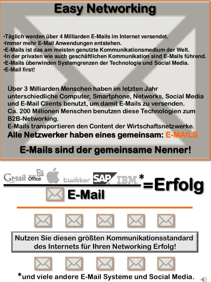 Easy Networking•Täglich werden über 4 Milliarden E-Mails im Internet versendet.•Immer mehr E-Mail Anwendungen entstehen.•E...