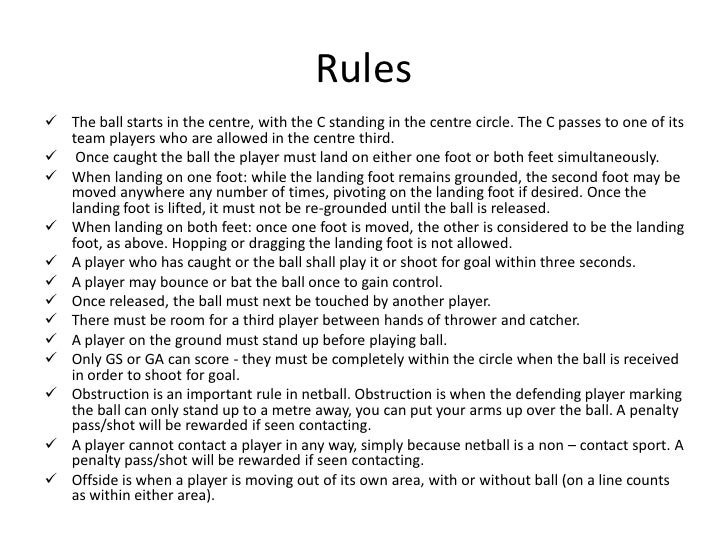 england netball rules