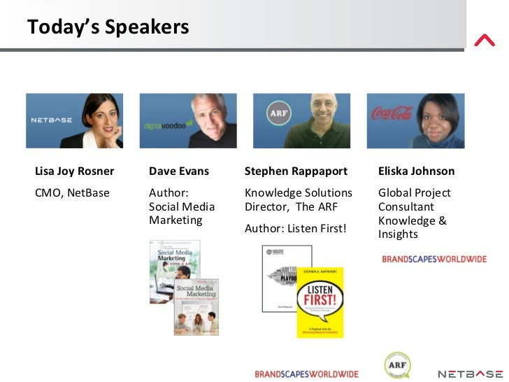 Today's Speakers Stephen Rappaport Knowledge Solutions Director,  The ARF Author: Listen First! Dave Evans Author:  Social...