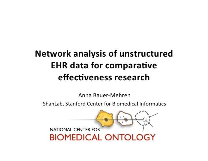 Network(analysis(of(unstructured(   EHR(data(for(compara8ve(    effec8veness(research(               Anna$Bauer)Mehren$ Sha...