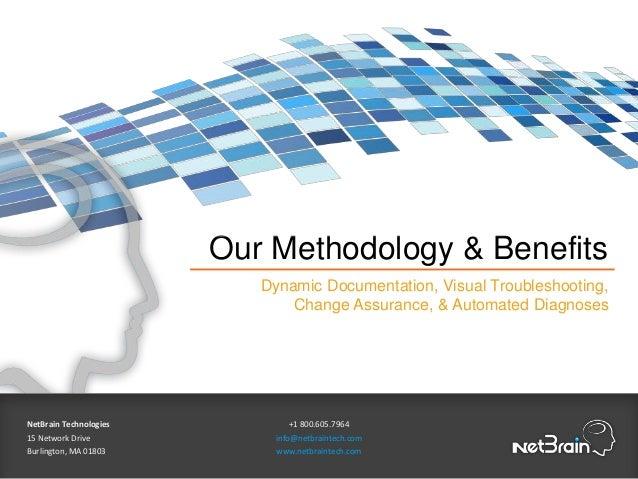 Our Methodology & Benefits Dynamic Documentation, Visual Troubleshooting, Change Assurance, & Automated Diagnoses NetBrain...