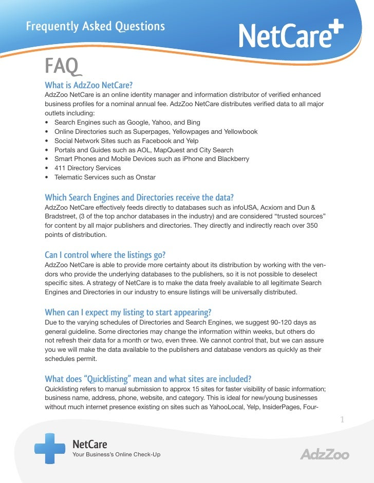 Frequently Asked Questions   FAQ   What is AdzZoo NetCare?   AdzZoo NetCare is an online identity manager and information ...