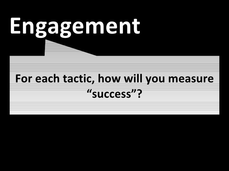 """Awareness For each tactic, how will you measure """"success""""? Engagement"""