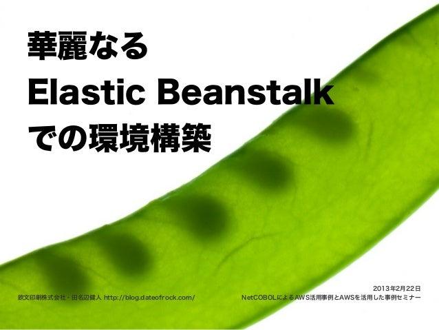 華麗なる  Elastic Beanstalk  での環境構築                                                                      2013年2月22日欧文印刷株式会社・田名...