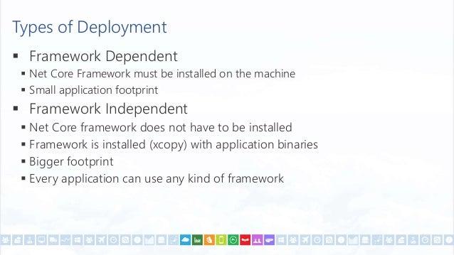Framework Dependent Application  dotnet restore  dotnet build  dotnet pack  dotnet publish -f netcoreapp2.0 -c Debug