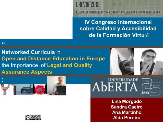 """"""" Networked Curricula in Open and Distance Education in Europe: the Importance of Legal and Quality Assurance Aspects : Li..."""