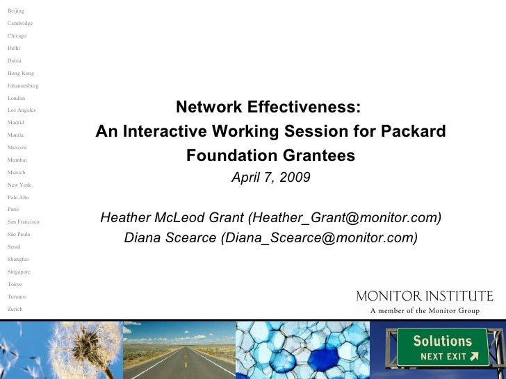 Network Effectiveness:  An Interactive Working Session for Packard Foundation Grantees April 7, 2009 Heather McLeod Grant ...