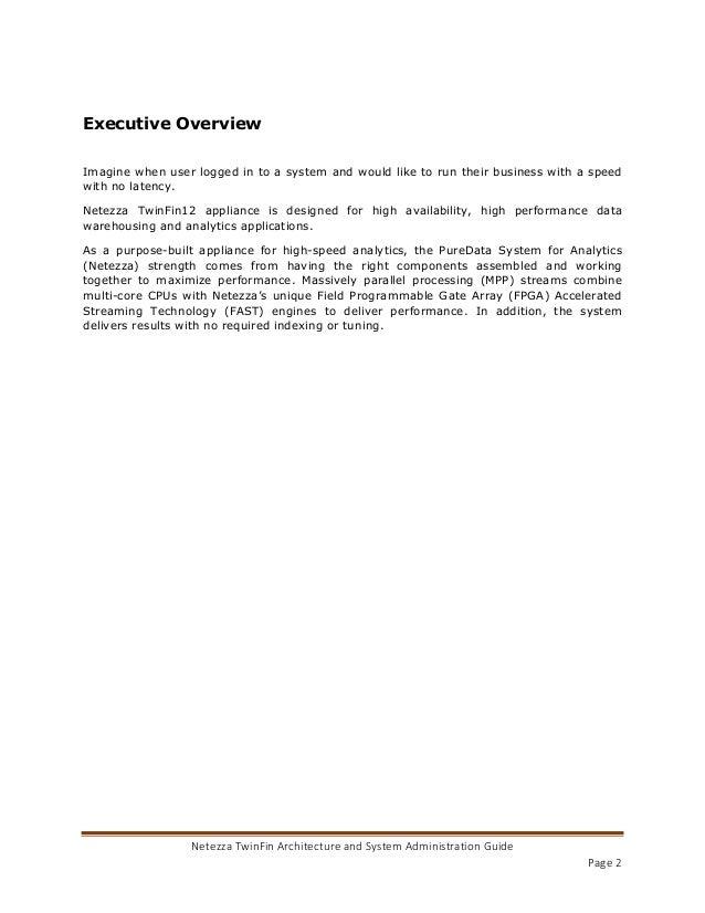 Netezza Architecture And Administration - Netezza architecture