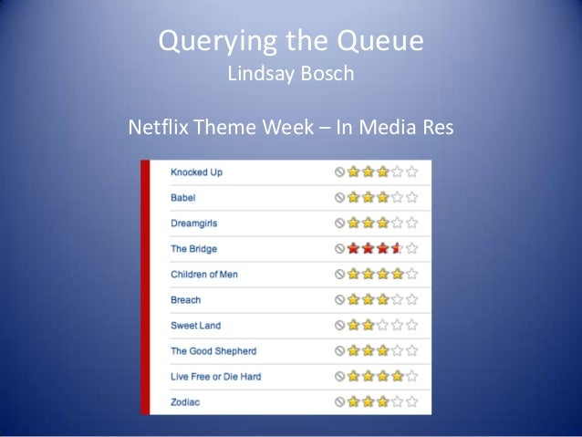 Querying the Queue Lindsay Bosch Netflix Theme Week – In Media Res
