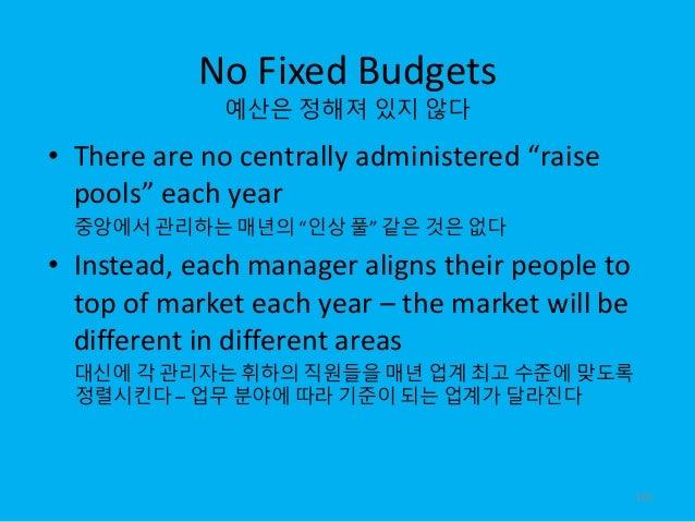 "No Fixed Budgets 예산은 정해져 있지 않다 • There are no centrally administered ""raise pools"" each year 중앙에서 관리하는 매년의 ""인상 풀"" 같은 것은 없다..."