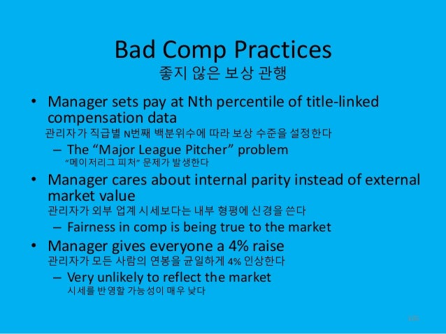 Bad Comp Practices 좋지 않은 보상 관행 • Manager sets pay at Nth percentile of title-linked compensation data 관리자가 직급별 N번째 백분위수에 따...