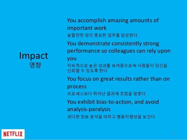 12 Impact 영향 You accomplish amazing amounts of important work 놀랄만한 양의 중요한 업무를 달성한다 You demonstrate consistently strong per...