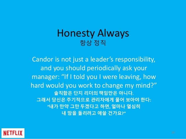 """Honesty Always 항상 정직 Candor is not just a leader's responsibility, and you should periodically ask your manager: """"If I tol..."""