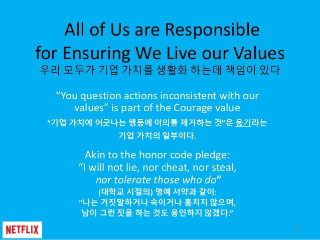 """All of Us are Responsible for Ensuring We Live our Values 우리 모두가 기업 가치를 생활화 하는데 책임이 있다 """"You question actions inconsistent ..."""