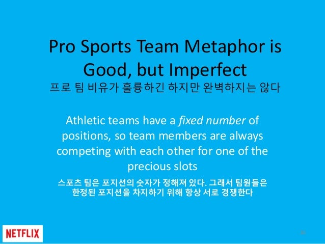 Pro Sports Team Metaphor is Good, but Imperfect 프로 팀 비유가 훌륭하긴 하지만 완벽하지는 않다 Athletic teams have a fixed number of positions...
