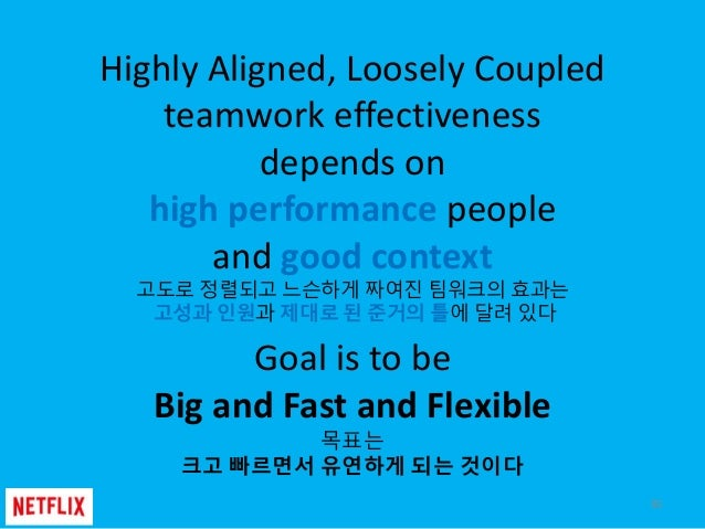 Highly Aligned, Loosely Coupled teamwork effectiveness depends on high performance people and good context 고도로 정렬되고 느슨하게 짜...