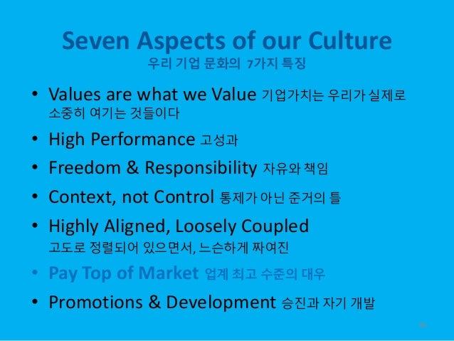 Seven Aspects of our Culture 우리 기업 문화의 7가지 특징 • Values are what we Value 기업가치는 우리가 실제로 소중히 여기는 것들이다 • High Performance 고성과...