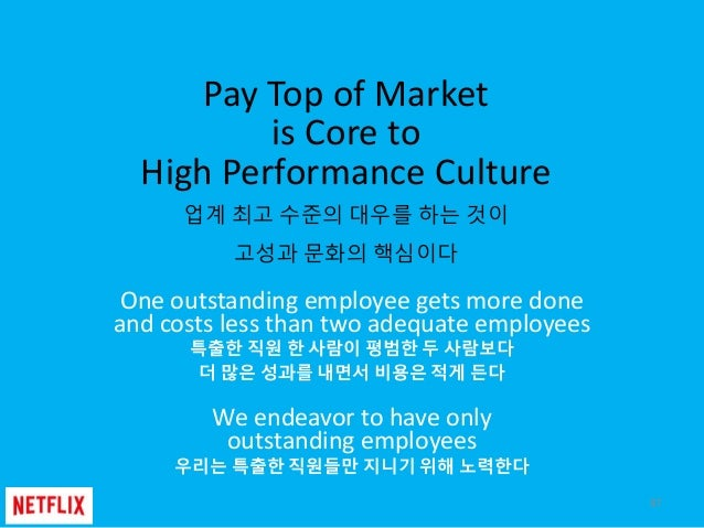 Pay Top of Market is Core to High Performance Culture 업계 최고 수준의 대우를 하는 것이 고성과 문화의 핵심이다 One outstanding employee gets more ...