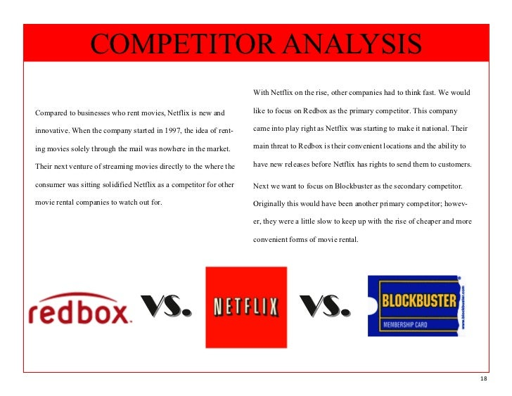 blockbuster competitor analysis netflix In the beginning, the company's primary competition was blockbuster  potential  threats to their market share also came in the form of online streaming services.