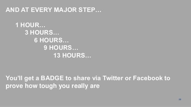 """AND AT EVERY MAJOR STEP…   1 HOUR…      3 HOURS…         6 HOURS…            9 HOURS…               13 HOURS…You""""ll get a ..."""