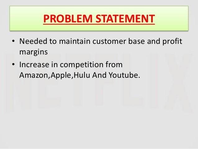 customer analysis of netflix Situation analysis netflix core products are service for moves online streaming and dvd rentals 214 political factors network neutrality is the tv commercials people price train customer service to achieve a 3 minute 42 time lines implementation time table year 2014 jan feb mar apr may jun jul aug.