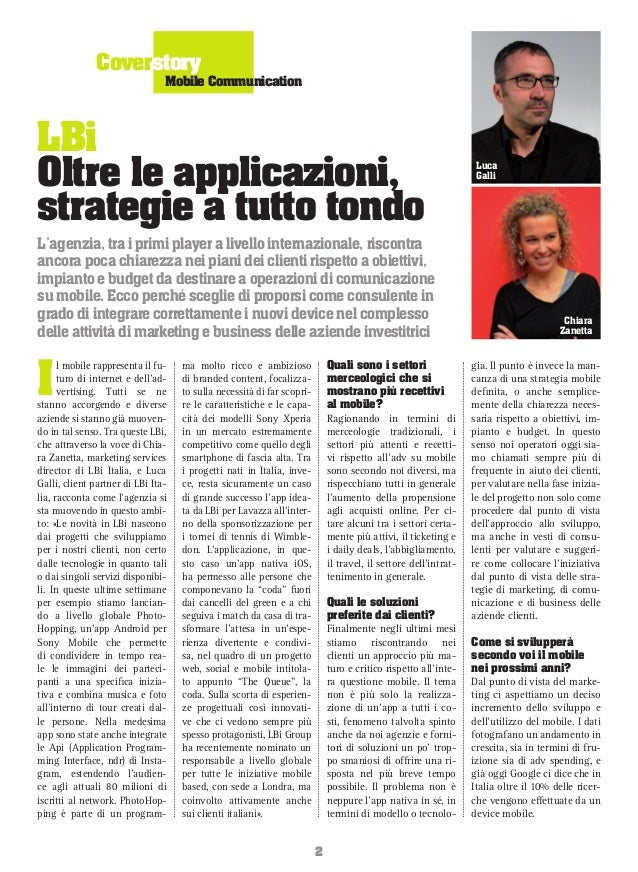 Coverstory  Mobile Communication  LBi Oltre le applicazioni, strategie a tutto tondo L'agenzia, tra i primi player a livel...