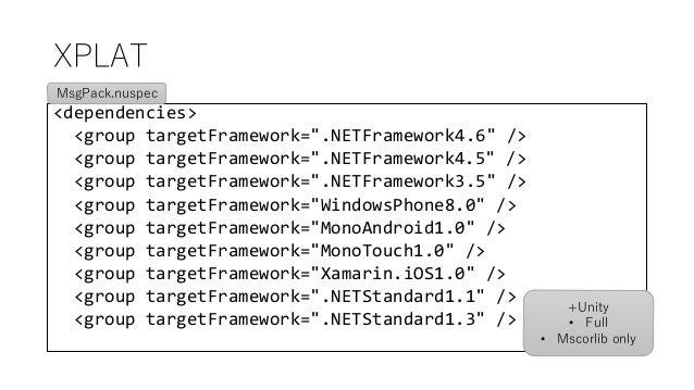 """XPLAT <dependencies> <group targetFramework="""".NETFramework4.6"""" /> <group targetFramework="""".NETFramework4.5"""" /> <group targ..."""