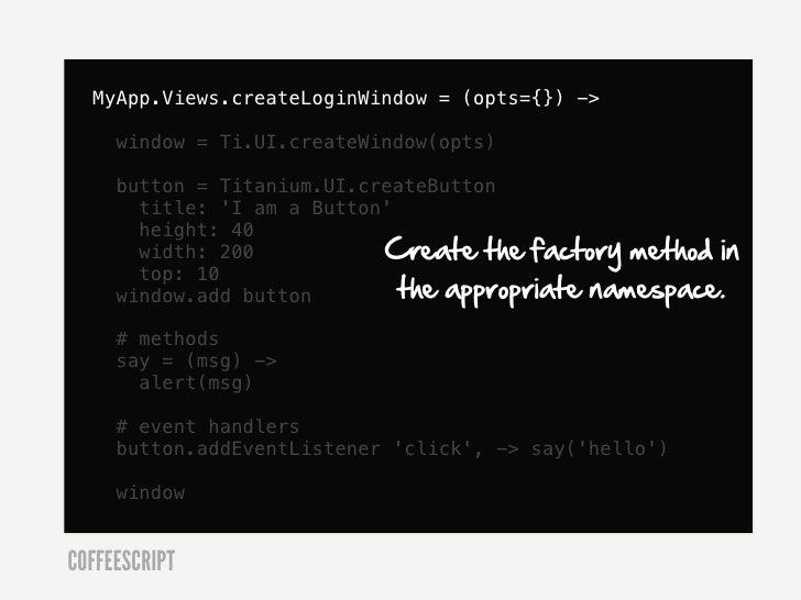 CoffeeScript class  class GolfStatus.API    # Initialize with login and password    constructor: (@login, @password) ->COF...