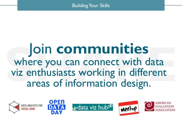 BuildingYour Skills SHARE Join communities where you can connect with data viz enthusiasts working in different areas of i...