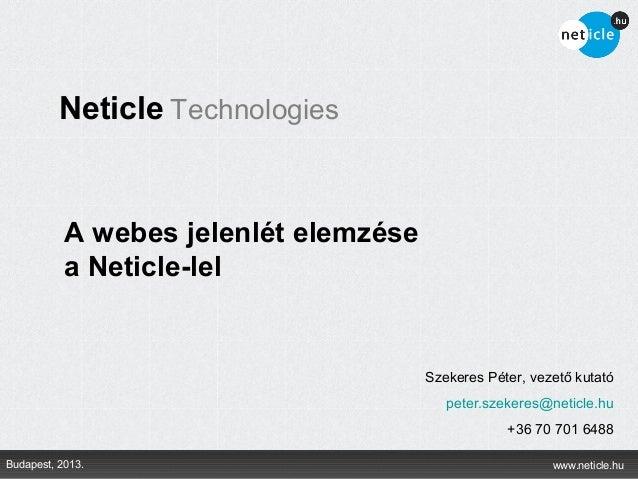 Neticle Technologies           A webes jelenlét elemzése           a Neticle-lel                                       Sze...
