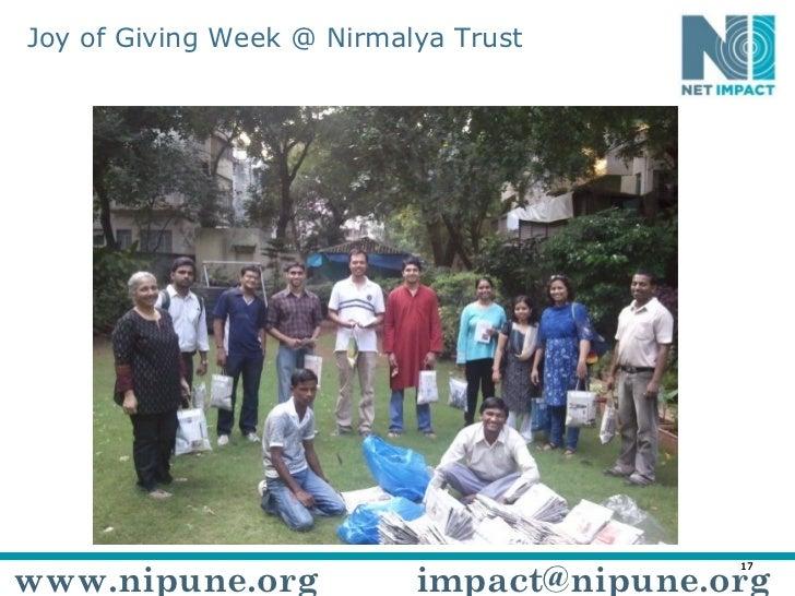 Joy of Giving Week @ Nirmalya Trust www.nipune.org [email_address]