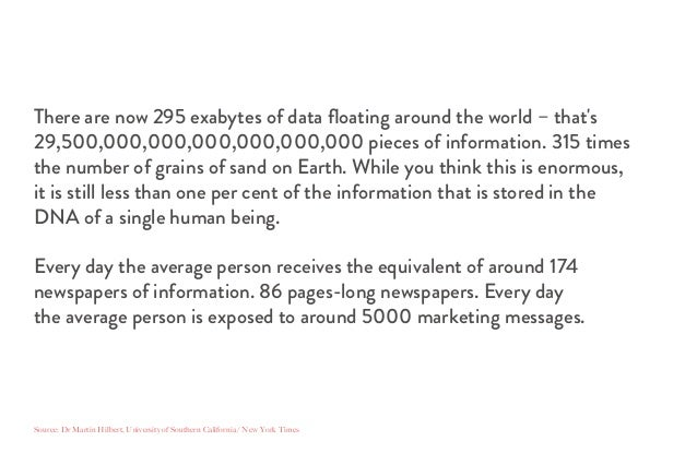 There are now 295 exabytes of data floating around the world – that's 29,500,000,000,000,000,000,000 pieces of information....