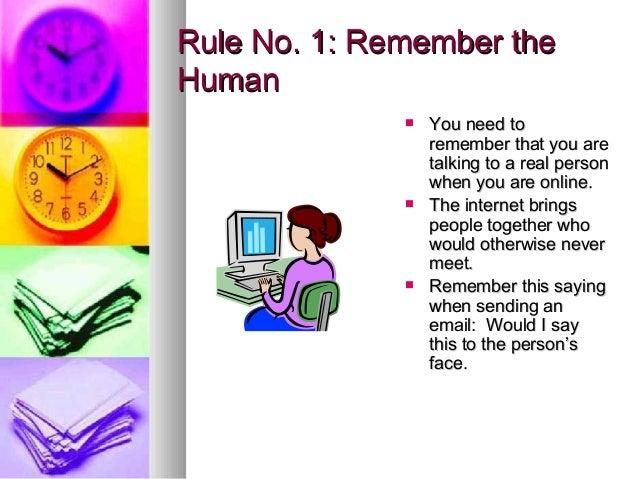 Internet etiquette of examples Online Etiquette:
