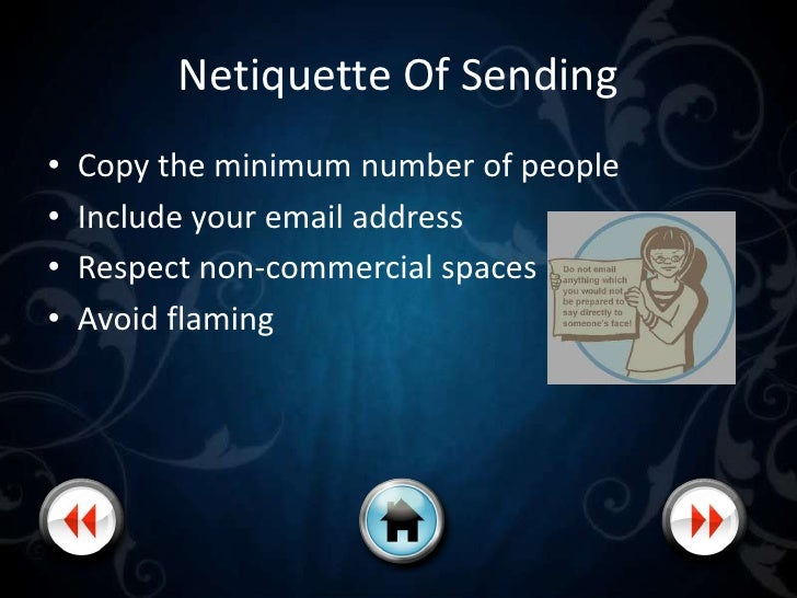 Netiquette Of Replying Generally apply to email, the newsgroups, and mailing lists. • Replying and forwarding • Summarize ...