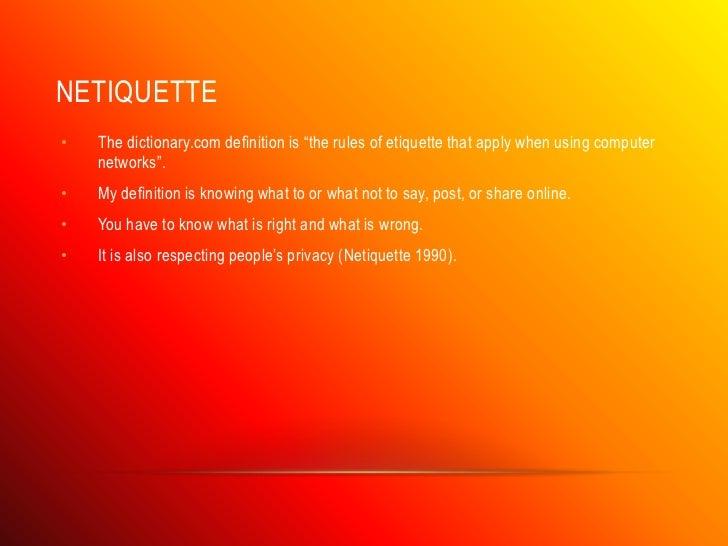 Etiquette in technology